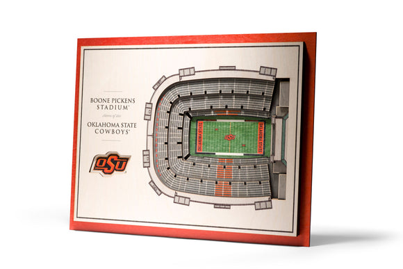 Oklahoma State Cowboys | 3D Stadium View | Boone Pickens Stadium | Wall Art | Wood | 5 Layer