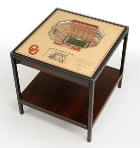 Oklahoma Sooners | 3D Stadium View | Lighted End Table | Wood