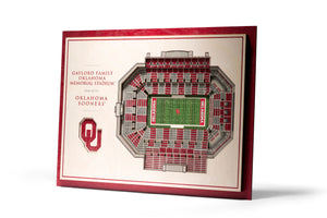 Oklahoma Sooners | 3D Stadium View | Oklahoma Memorial Stadium | Wall Art | Wood | 5 Layer