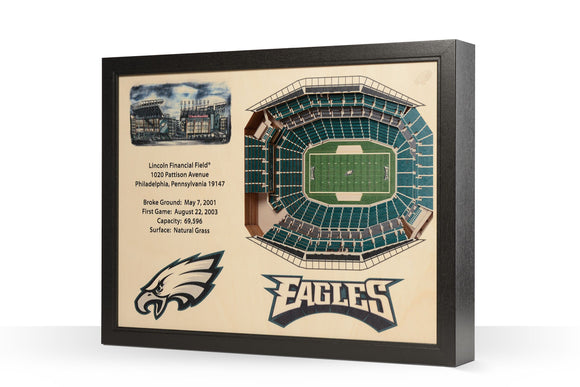 Philadelphia Eagles | 3D Stadium View | Lincoln Financial Field | Wall Art | Wood