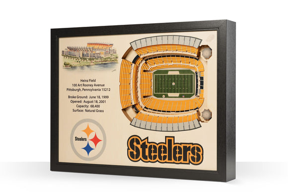 Pittsburgh Steelers | 3D Stadium View | Heinz Field | Wall Art | Wood