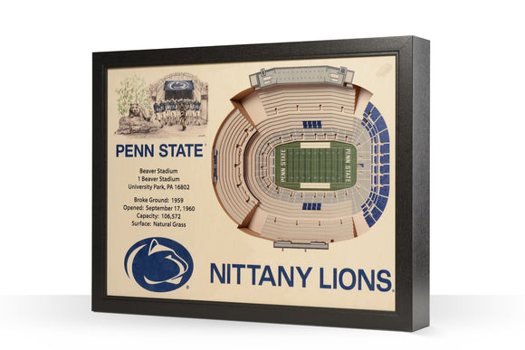 Penn State | 3D Stadium View | Beaver Stadium | Wall Art | Wood