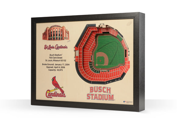 St. Louis Cardinals | 3D Stadium View | Busch Stadium | Wall Art | Wood
