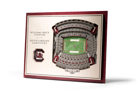 South Carolina Gamecocks | 3D Stadium View | Williams Brice Stadium | Wall Art | Wood | 5 Layer