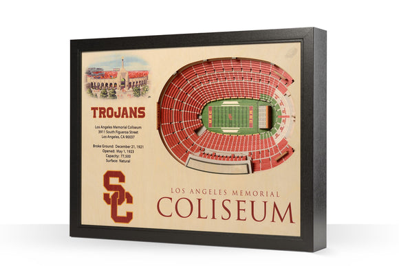 USC Trojans | 3D Stadium View | Los Angeles Memorial Coliseum | Wall Art | Wood