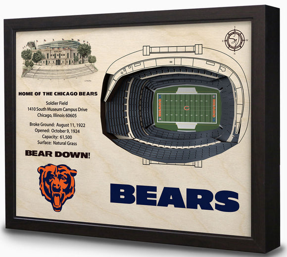Chicago Bears | 3D Stadium View | Soldier Field | Wall Art | Wood