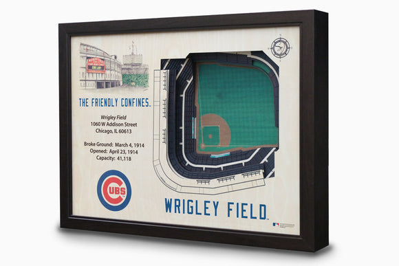 Chicago Cubs | 3D Stadium View | Wrigley Field | Wall Art | Wood