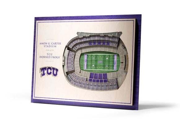 TCU Horned Frogs | 3D Stadium View | Amon G. Carter Stadium | Wall Art | Wood | 5 Layer