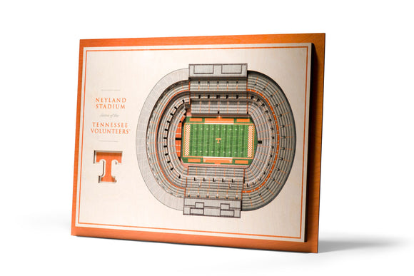 Tennessee Volunteers | 3D Stadium View | Neyland Stadium | Wall Art | Wood | 5 Layer
