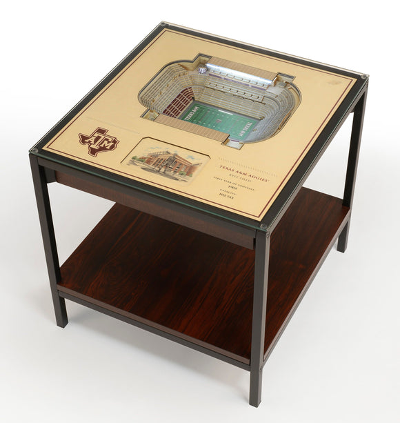 Texas A&M Aggies | 3D Stadium View | Lighted End Table | Wood