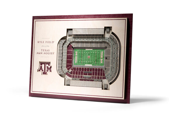 Texas A&M Aggies | 3D Stadium View | Kyle Field | Wall Art | Wood | 5 Layer