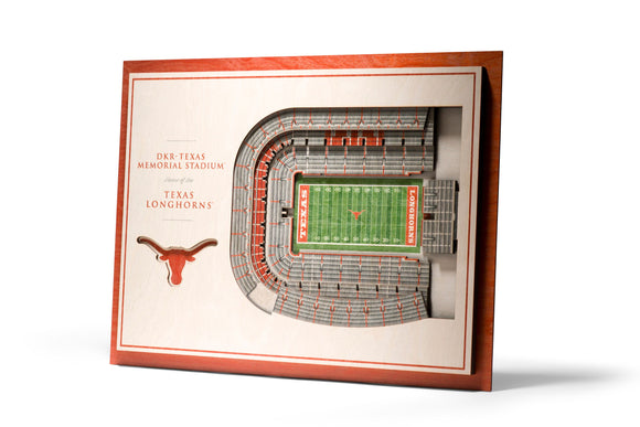 Texas Longhorns | 3D Stadium View | DKR-Texas Memorial Stadium | Wall Art | Wood | 5 Layer
