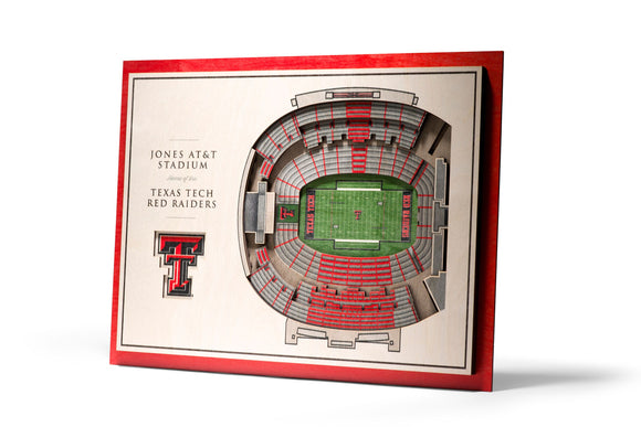 Texas Tech Red Raiders | 3D Stadium View | Jones AT&T Stadium | Wall Art | Wood | 5 Layer