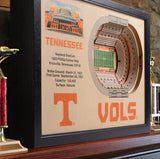 Tennessee Vols | 3D Stadium View | Art Neyland Stadium | Wall Art | Wood