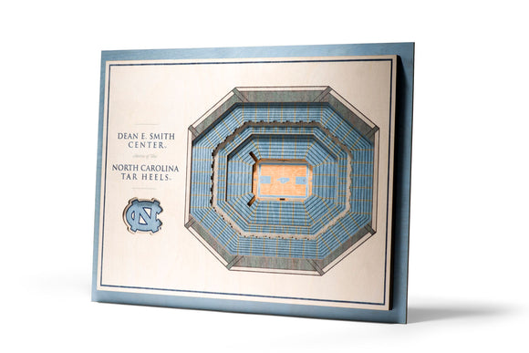 North Carolina Tar Heels | 3D Stadium View | Dean Smith Center | Wall Art | Wood | 5 Layer