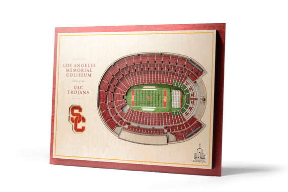 USC Trojans | 3D Stadium View | Los Angeles Memorial Coliseum | Wall Art | Wood | 5 Layer