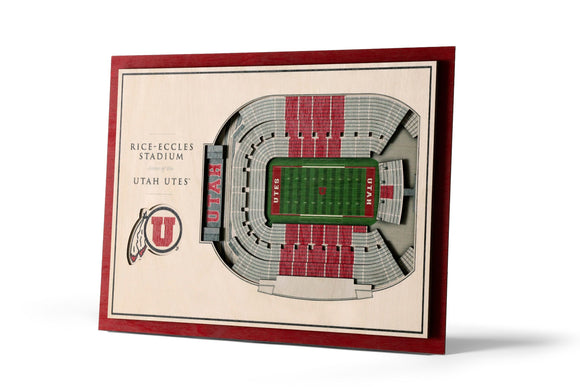 Utah Utes | 3D Stadium View | Rice Eccles Stadium | Wall Art | Wood | 5 Layer
