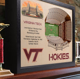 Virginia Tech Hokies | 3D Stadium View | Art Lane Stadium | Wall Art | Wood