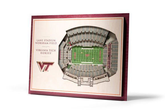 Virginia Tech Hokies | 3D Stadium View | Lane Stadium | Wall Art | Wood | 5 Layer