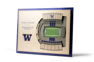 Washington Huskies | 3D Stadium View | Husky Stadium | Wall Art | Wood | 5 Layer