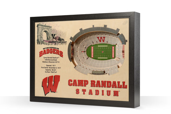 Wisconsin Badgers | 3D Stadium View | Art Camp Randall Stadium | Wall Art | Wood