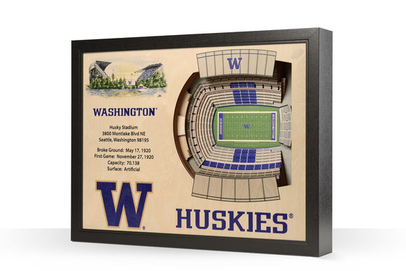 Washington Huskies | 3D Stadium View | Art Husky Stadium | Wall Art | Wood