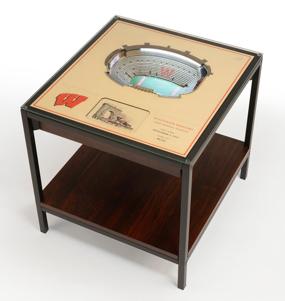 Wisconsin Badgers | 3D Stadium View | Lighted End Table | Wood