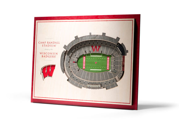 Wisconsin Badgers | 3D Stadium View | Camp Randall Stadium | Wall Art | Wood | 5 Layer