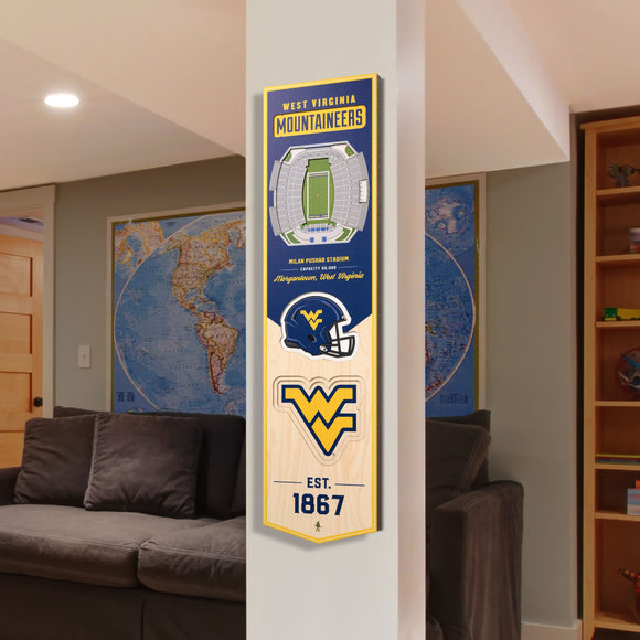 West Virginia Mountaineers | Stadium Banner | Milan Puskar Stadium | Wood
