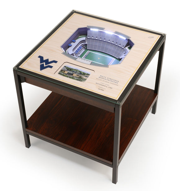 West Virginia Mountaineers | 3D Stadium View | Lighted End Table | Wood