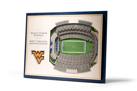 West Virginia Mountaineers | 3D Stadium View | Milan Puskar Stadium | Wall Art | Wood | 5 Layer
