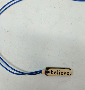 Necklace by MudLOVE | Believe | Multiple Band Colors | Stretchable Band