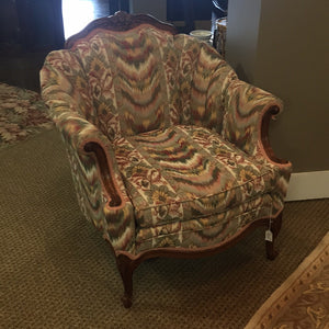 Rolled Arm & Channel Tufted Salon Chair