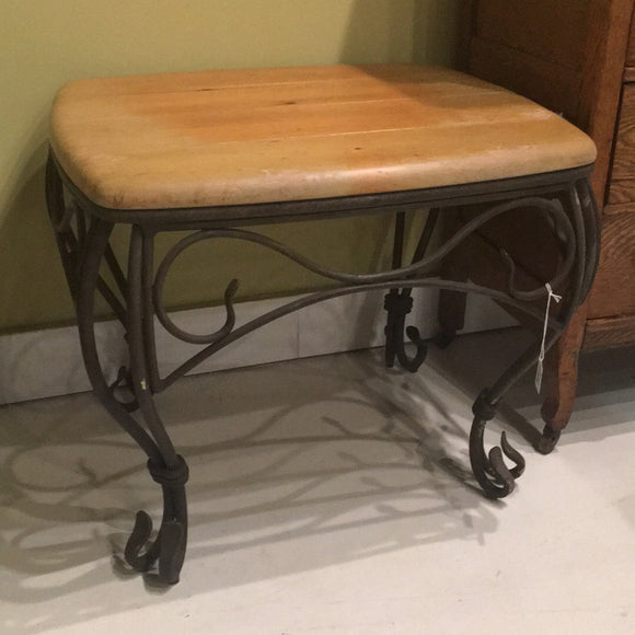 Metal and Wood Top Side Table