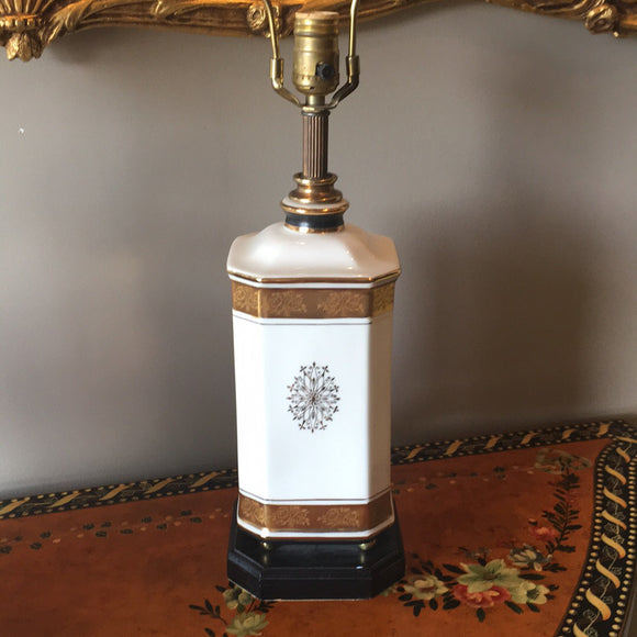Vintage Gold & White Italianate Lamp