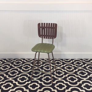 Mid-Century Wood & Green Vinyl Bar Stool