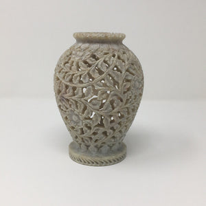 "Chinese Hand Carved Soap Stone 6"" Vase"