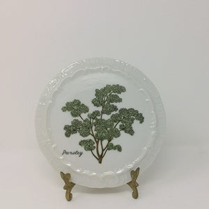 White Ceramic Trivet Plate Parsley Design