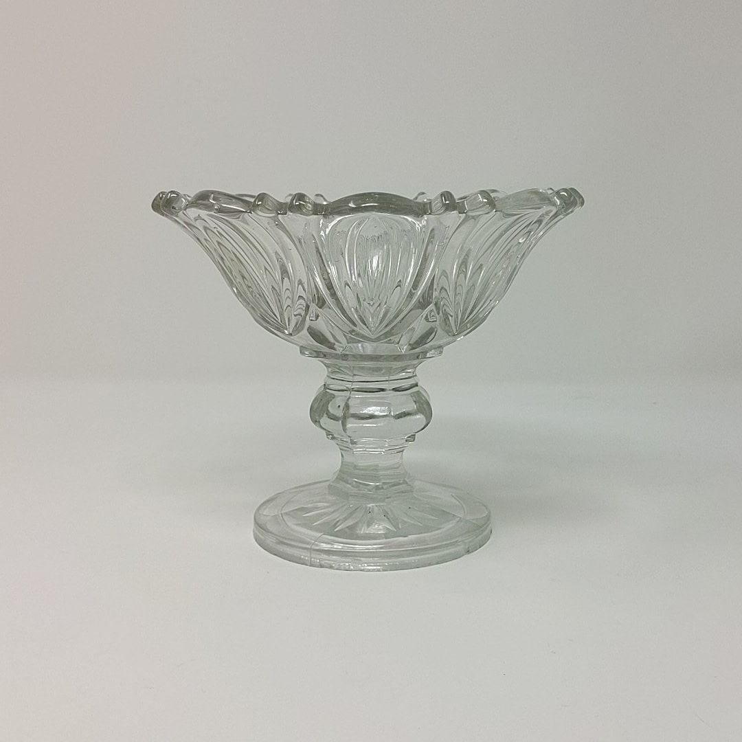 Vintage Compote Cut Glass Fruit Bowl