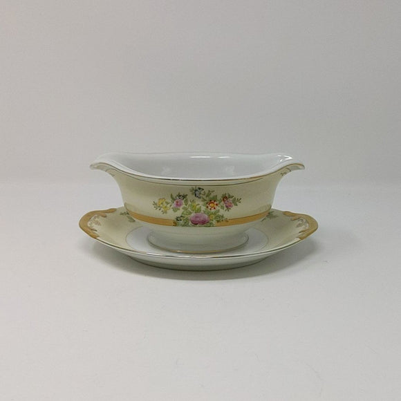 Antique Hand Painted Gravy Boat