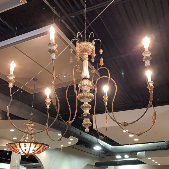 6-Arm Brushed Italianate Chandelier