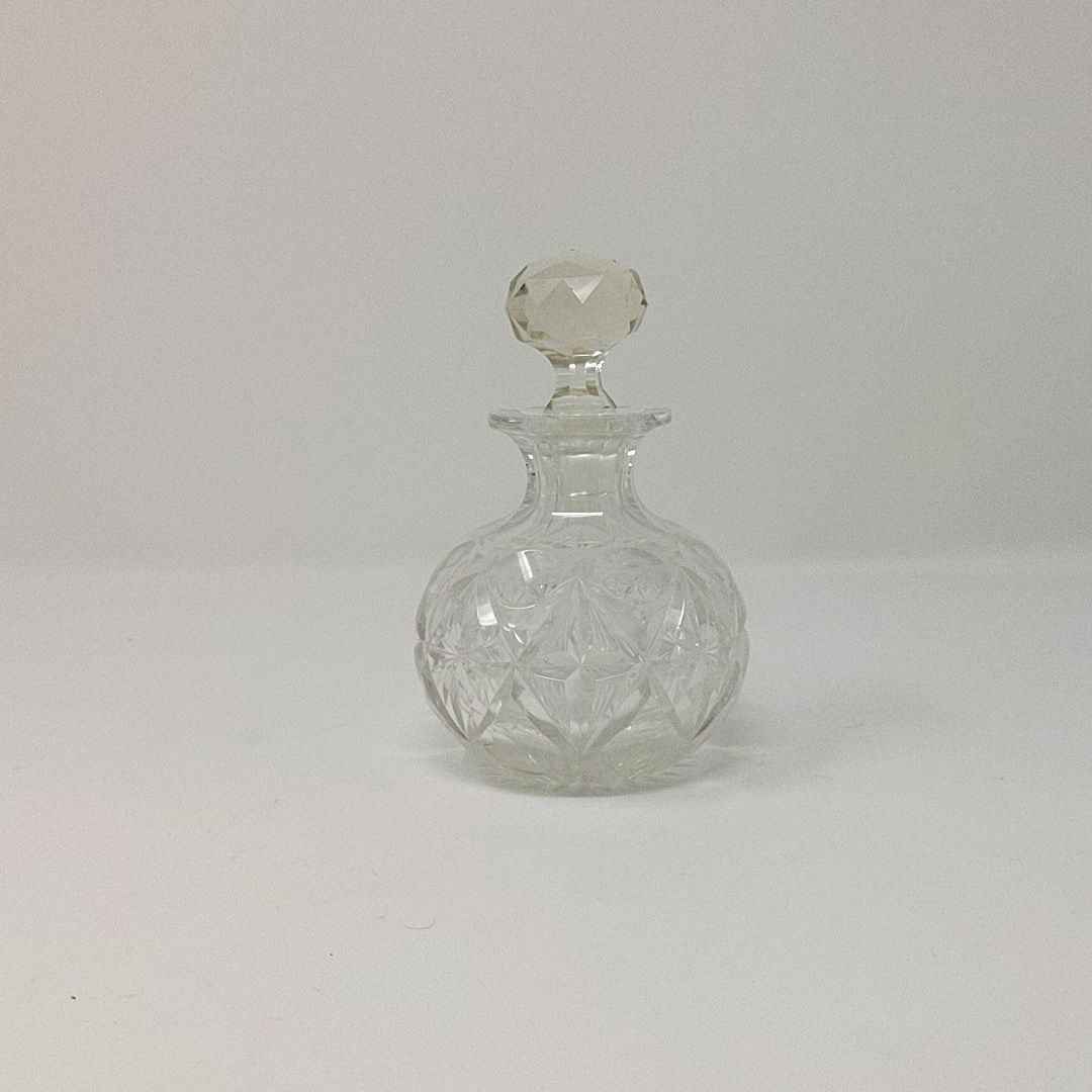 Vintage Cut Glass Round Perfume Bottle (Chipped)