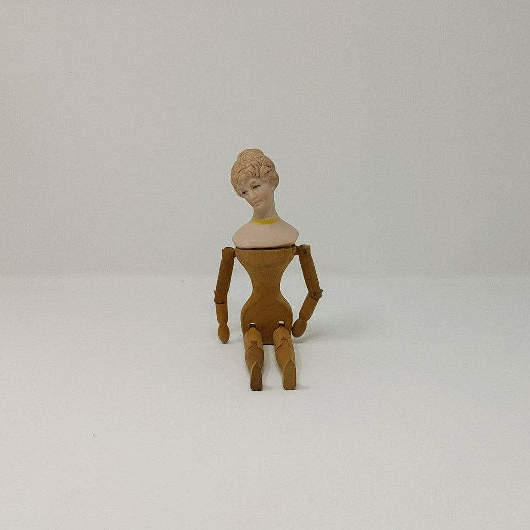 Vintage Bisque and Wood Jointed Doll