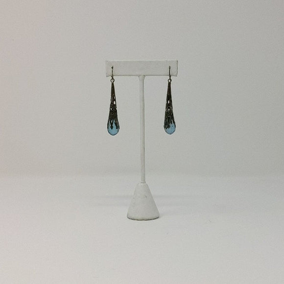 Blue Crystal Silver Dangle Earings