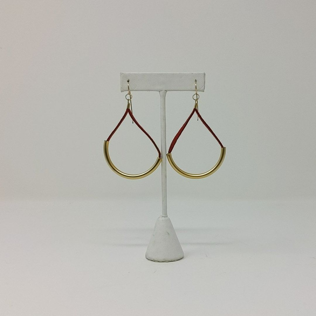 Gold Tone and Suede Dangle Earrings