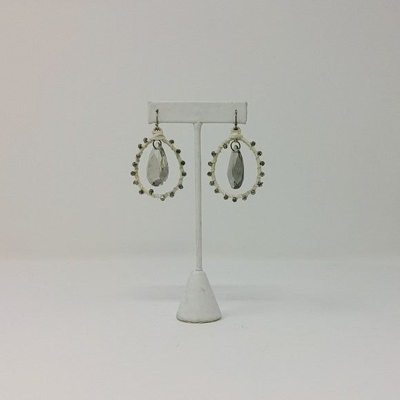 Tear Drop Smoked Crystal Earrings