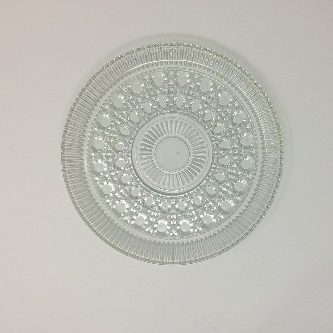 Vintage Round Cut Glass Serving Tray