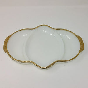 Vintage Anchor Hocking Fire King Milk Glass with Gold Trim Divided Relish Tray