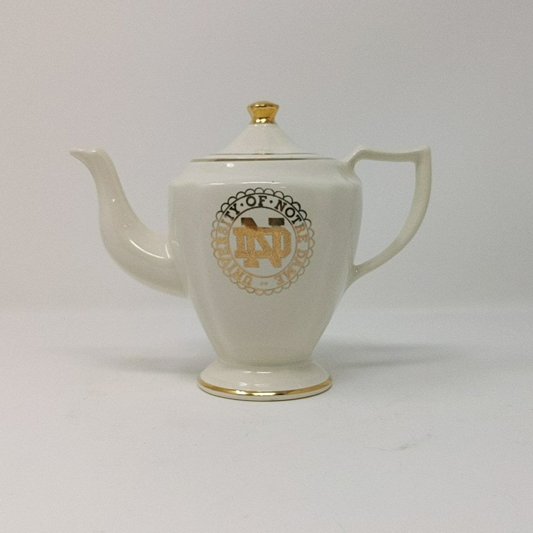 WC Bunting Co University Of Notre Dame Ceramic and Gold Trim Tea Pot