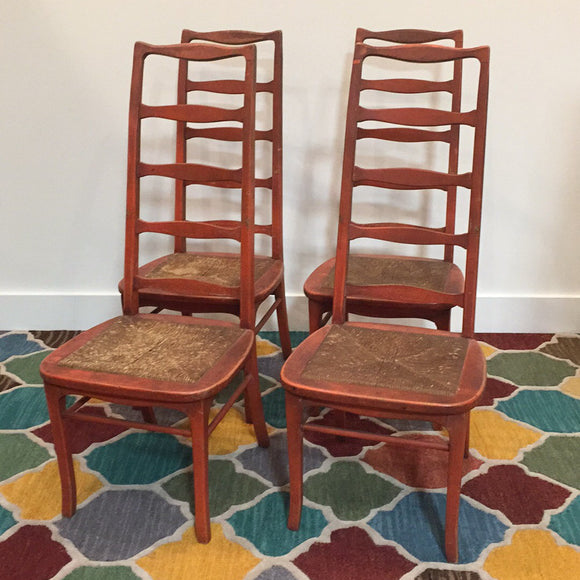 Vintage Red Ladder Back Chairs (4)